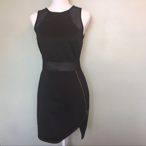 ASTR asymmetrical mesh zip dress